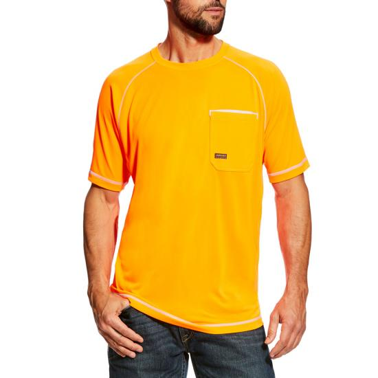 Ariat Rebar Sunstopper Crewneck Pocket S/S Shirt - Safety Orange
