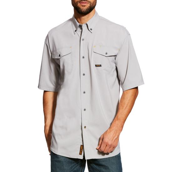 Ariat Rebar Made Tough Vent Button Front S/S Shirt- Alloy