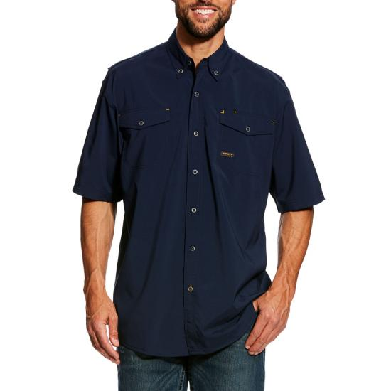 Ariat Rebar Made Tough Vent Button Front S/S Shirt- Navy