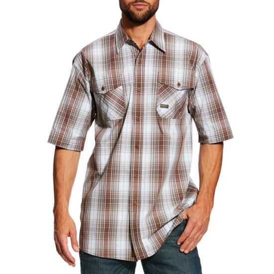 Ariat Rebar Made Tough Button Front S/S Work Shirt-Gray