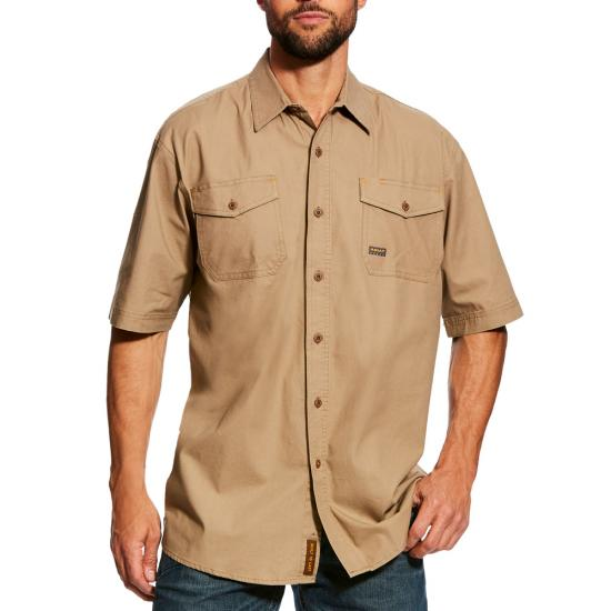 Ariat Rebar Made Tough Button Front S/S Work Shirt-Khaki