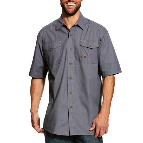 Ariat Rebar Made Tough Button Front S/S Work Shirt- Steel