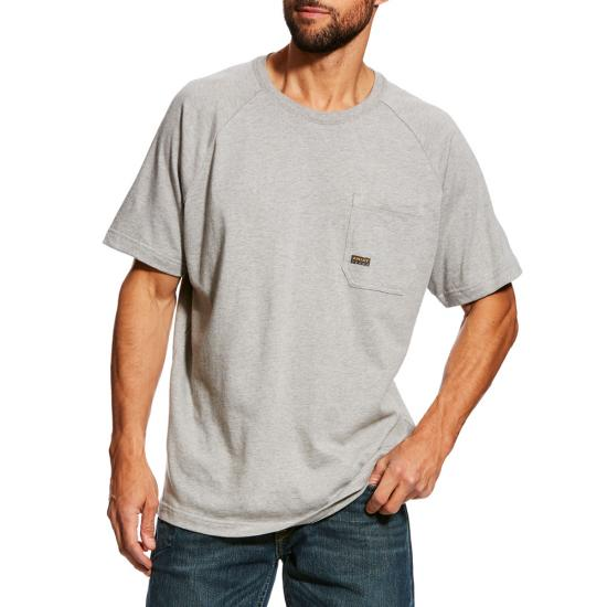 Ariat Rebar Cottonstrong Pocket Crewneck S/S Shirt - Heather Gray