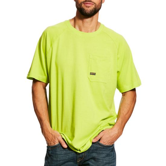 Ariat Rebar Cottonstrong Pocket S/S Crewneck Shirt - Lime