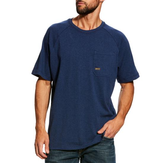 Ariat Rebar Cottonstrong Crewneck Pocket S/S Shirt - Navy Heather