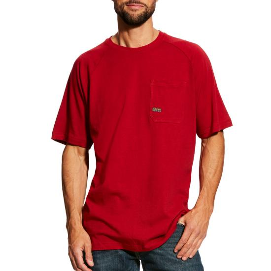 Ariat Rebar Cottonstrong  Pocket Crewneck S/S Shirt - Rio Red