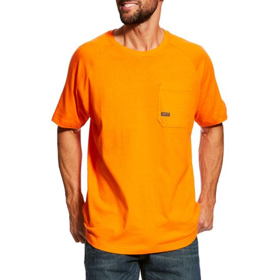 Ariat Rebar Cottonstrong  Crewneck Pocket S/S Shirt - Safety Orange