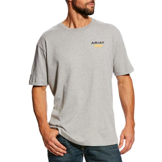 Ariat Rebar Cottonstrong Logo Crewneck S/S Shirt - Heather Gray