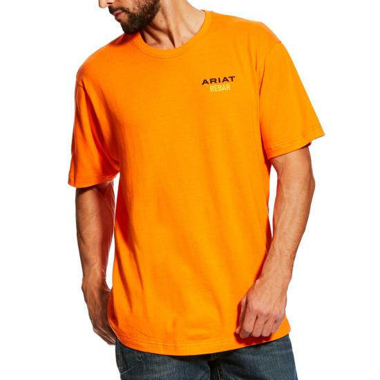 Ariat Rebar Cottonstrong Logo Crewneck S/S Shirt - Safety Orange