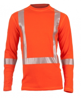 Dragonwear FR Power Dry® Dual Hazard Crewneck L/S Shirt - Hi-Vis Orange