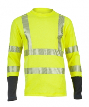 Dragonwear FR Power Dry® Dual Hazard Crewneck L/S Shirt - Hi-Vis Yellow