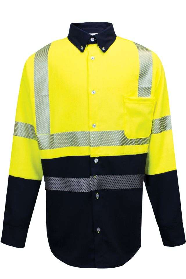 NSA FR Hybrid Button Down L/S Shirt - Hi-Vis Yellow/Navy