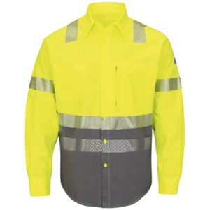 Bulwark FR Color-Block Uniform Button Down L/S Shirt - Hi-Vis Yellow/Navy