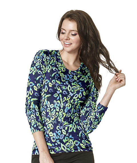 Winks Women's Silky All Over Print L/S Shirt